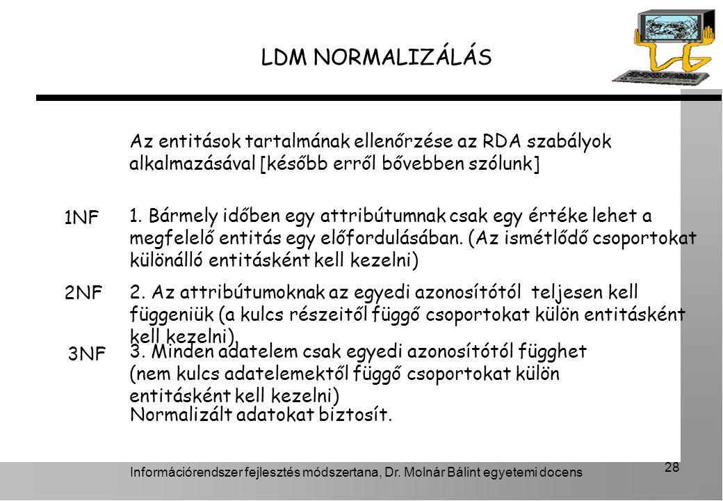 LDM NORMALIZÁLÁS Az entitások tartalmának ellenőrzése az RDA szabályok alkalmazásával [később erről bővebben szólunk]